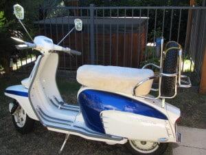 Lambretta. TV 175 Series 3, 1962. Bone custom made motorcycle seat cover.