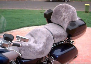 Honda Valkyrie Interstate 2000 Silver Sheepskin Motorcycle Seat Cover