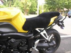 BMW K1200R 2006 Black Sheepskin Motorcycle Seat Cover