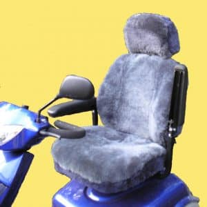 Grey Sheepskin and Acrylic Mobility Scooter Seat and Headrest Cover